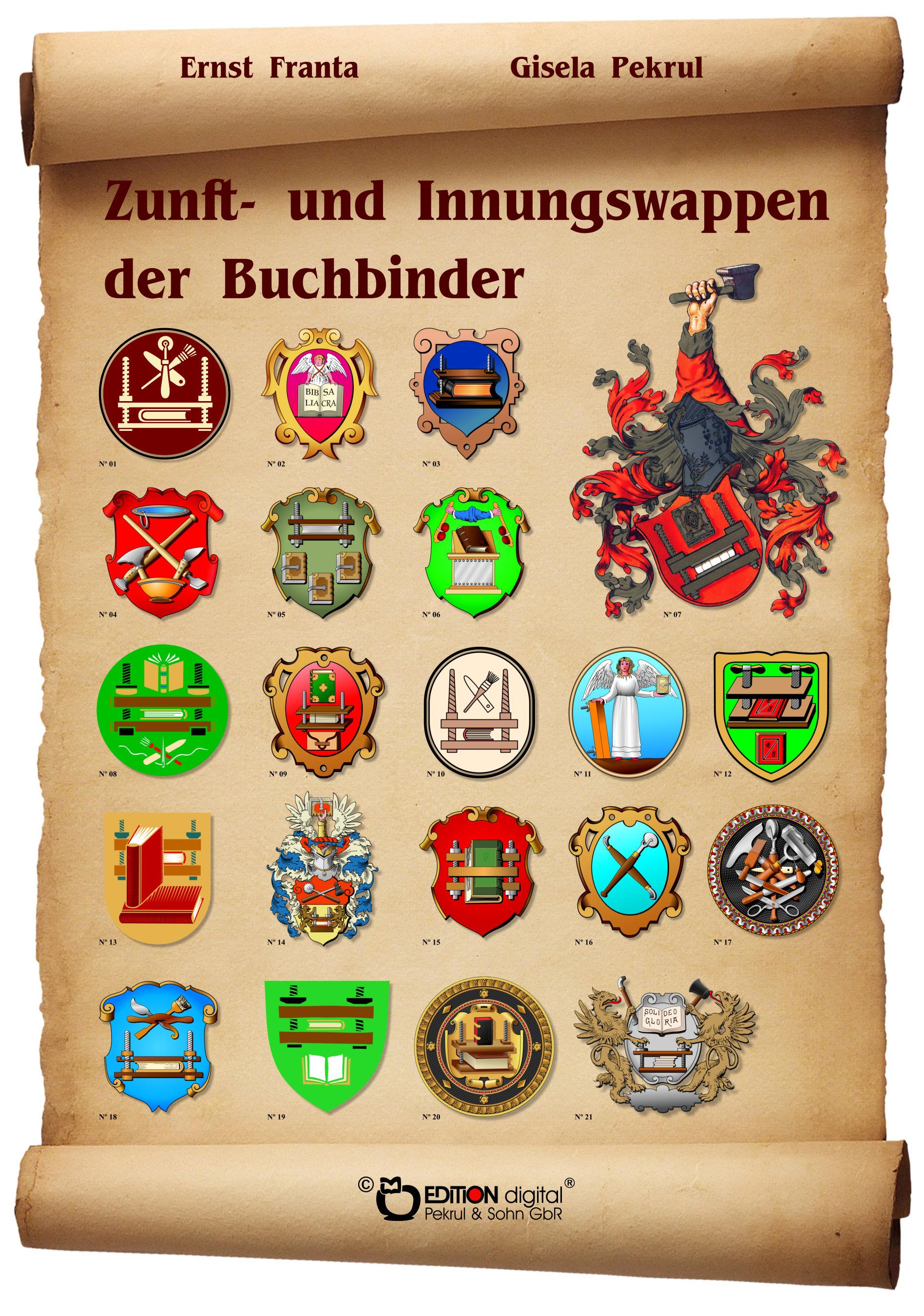 Zunft- und Innungswappen der Buchbinder. Poster mit Beschreibung von Gisela Pekrul