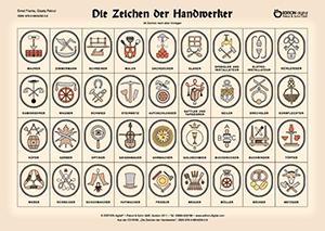 Die Zeichen der Handwerker. Poster mit Beschreibung von Gisela Pekrul, Ernst Franta (Autor)