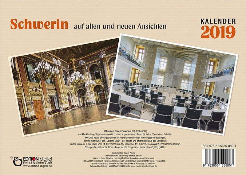 Kalender 2019: Schwerin auf alten und neuen Ansichten von Gisela Pekrul