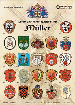 Zunft- und Innungszeichen der Müller. Poster mit Beschreibung von Gisela Pekrul, Ernst Franta (Autor)