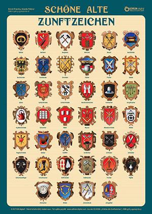 Schöne alte Zunftzeichen. Poster mit Beschreibung von Gisela Pekrul, Ernst Franta (Autor)